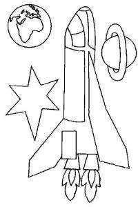 Ракета, шатл с двумя огнеными хвостами, планета Раскраски для мальчиков