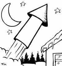 Ракета, петарда, ночь Скачать раскраски для мальчиков