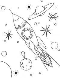 Ракета летит, планеты и звезды Раскраски для мальчиков