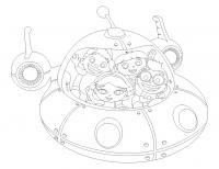 Ракеты, дети на космическом корабле Раскраски для мальчиков