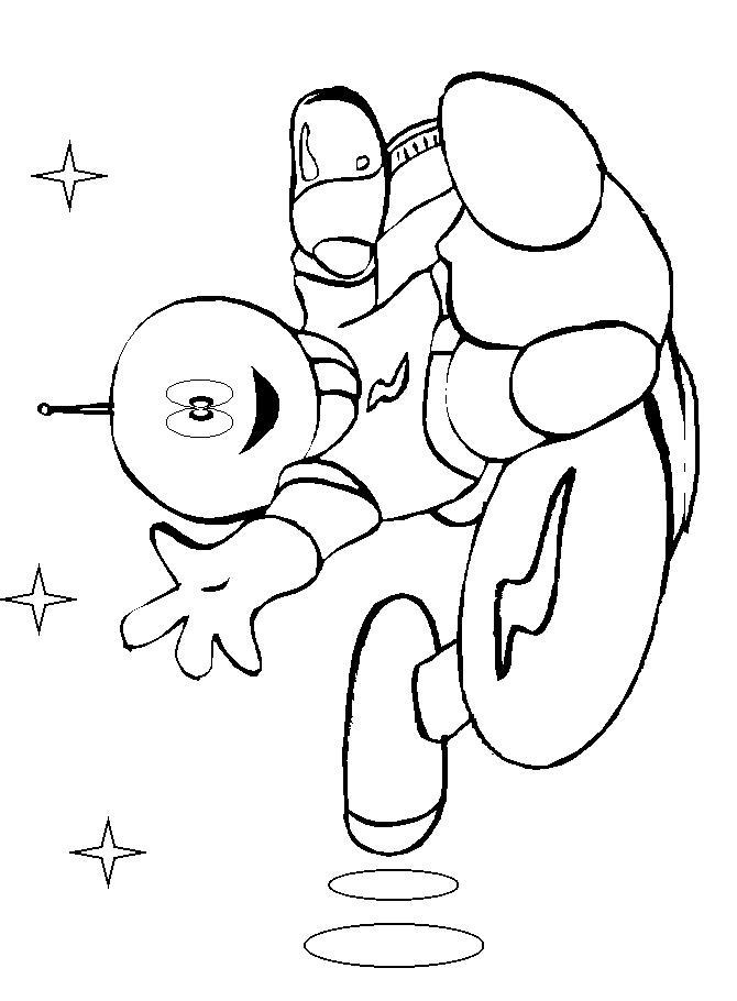 Космонавт верхом на ракете Распечатать раскраски для мальчиков
