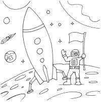 Ракеты, космонавт с флагом на луне возле ракеты Раскраски для мальчиков
