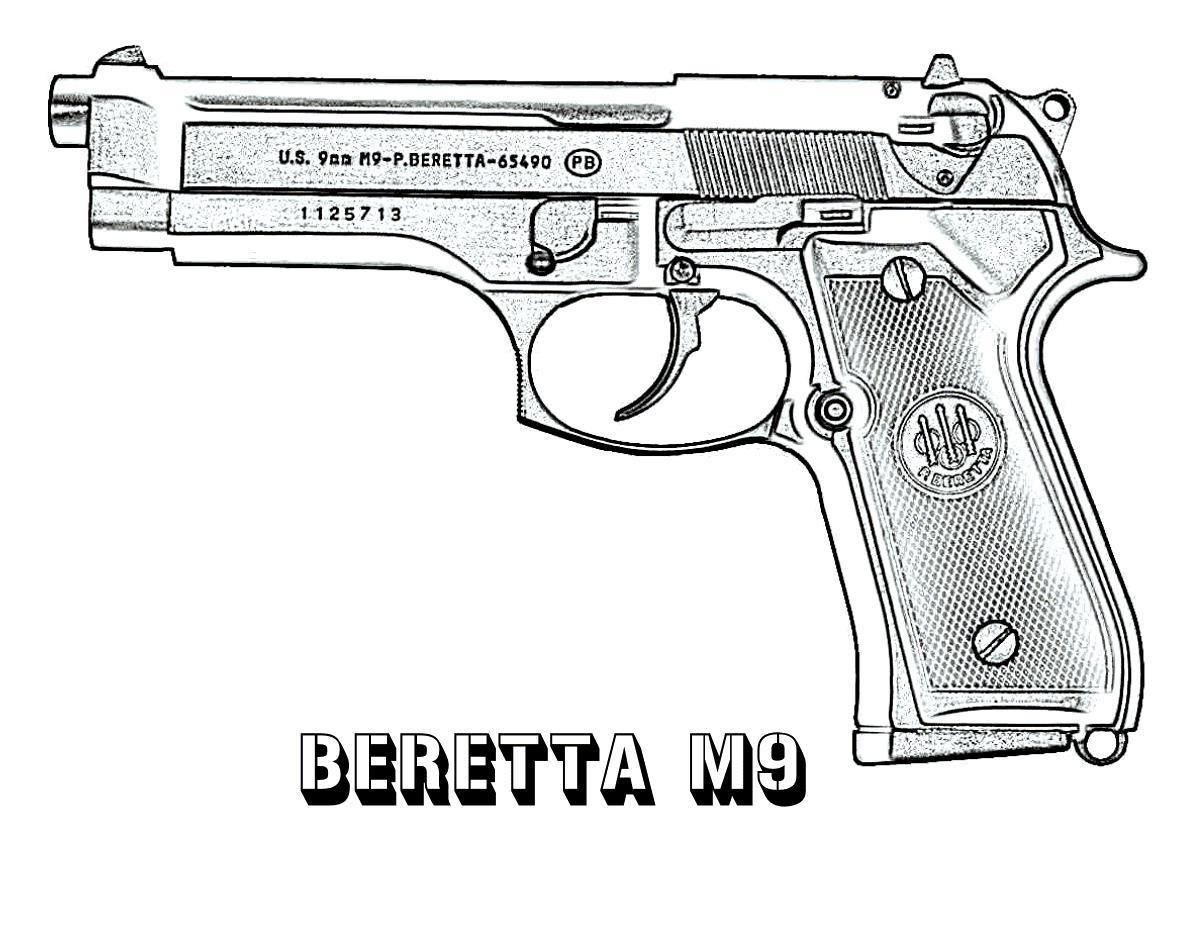 Оружие, пистолет, беретта м9 Раскраски для мальчиков