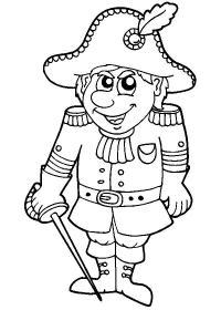 Французский солдат со шпагой Раскраски для мальчиков