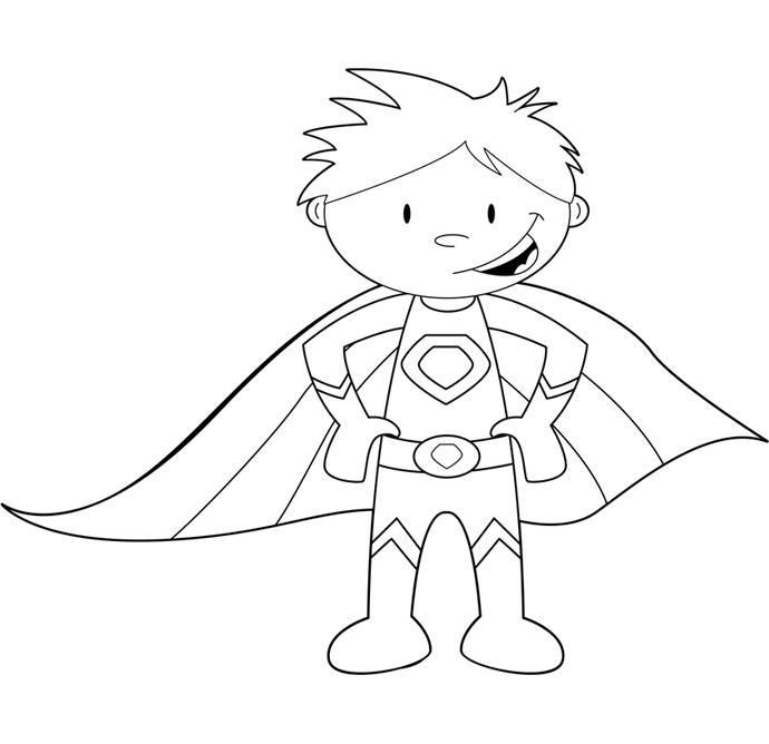 Супергерои, мальчик в плаще Распечатать раскраски для мальчиков