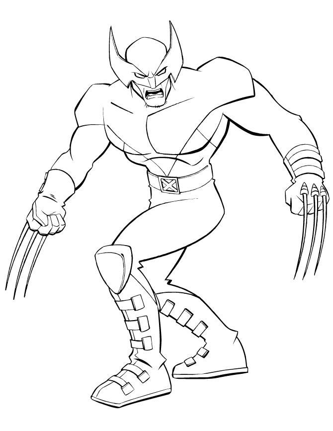 Супергерои, рассомаха, люди икс, человек с металлическими когтями Распечатать раскраски для мальчиков