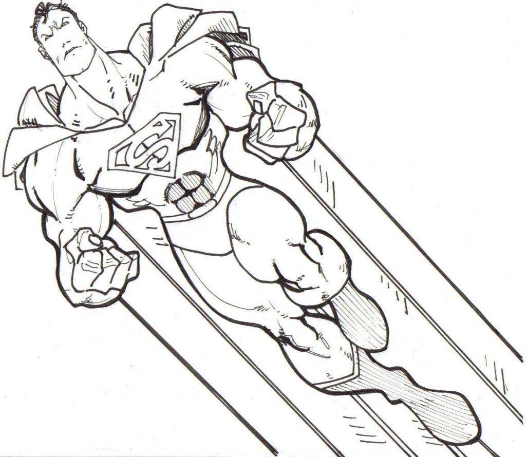 Супермен летит Распечатать раскраски для мальчиков