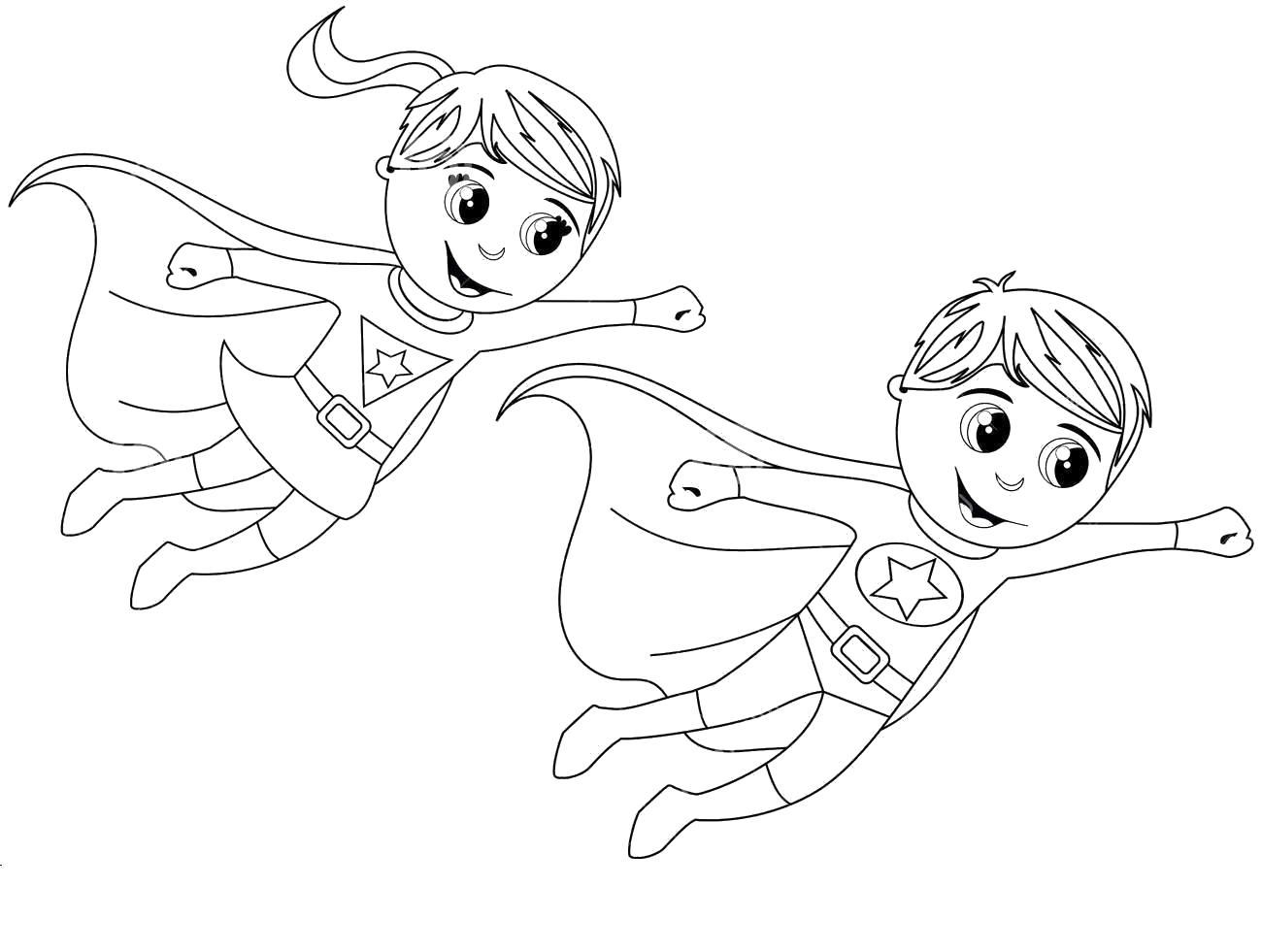 Дети супергерои Распечатать раскраски для мальчиков