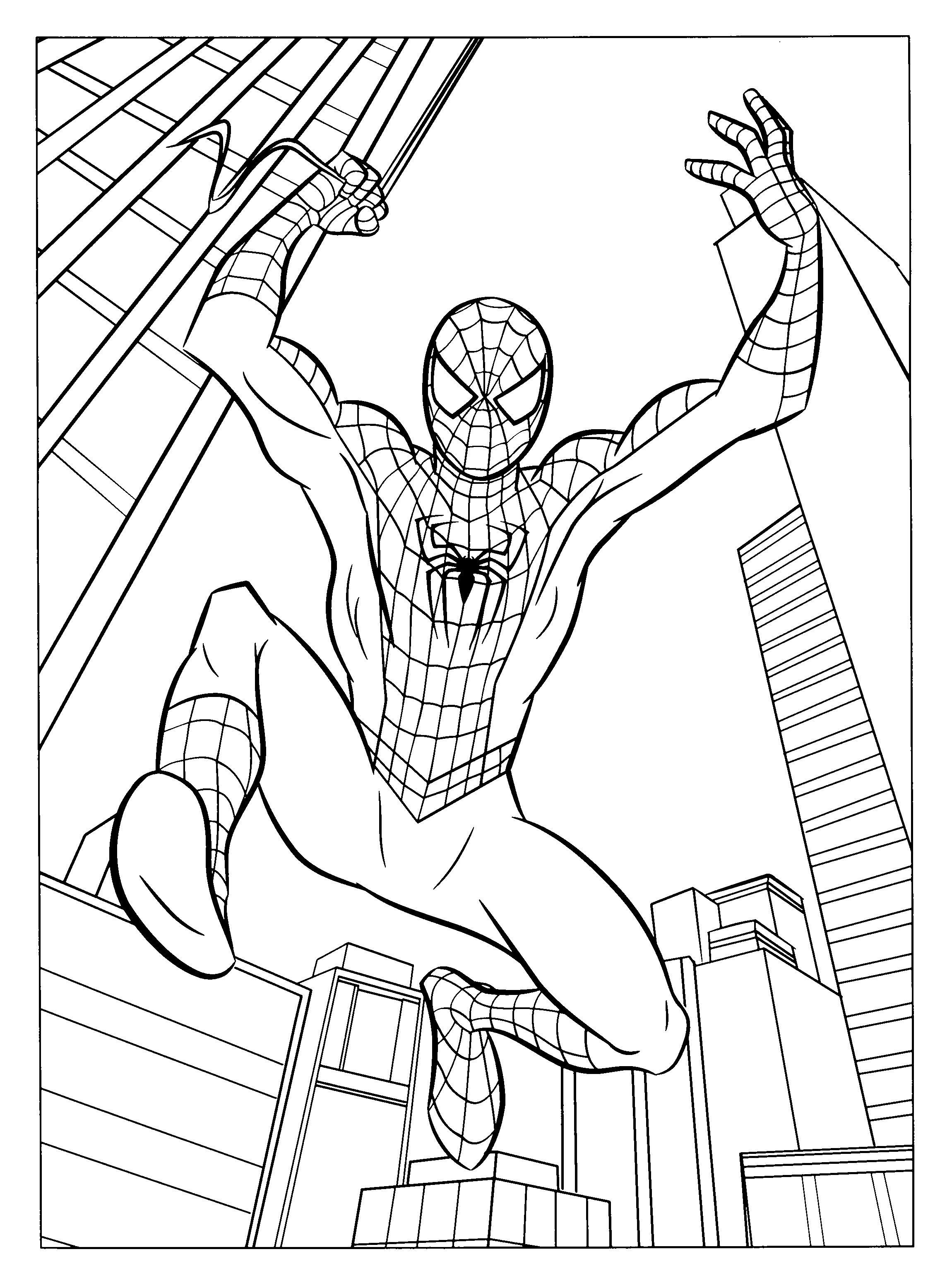 Человек летит на паутине среди домов города Распечатать раскраски для мальчиков