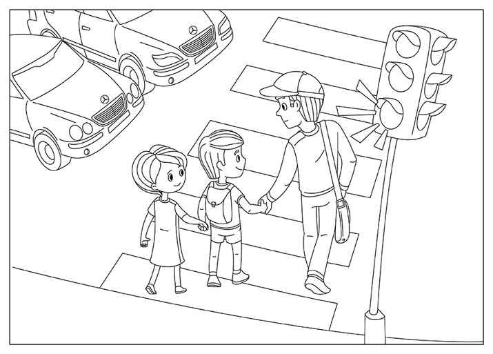 Дорожные знаки, дети переходят дорогу, светофор, зебра, машины, улица Раскраски для мальчиков