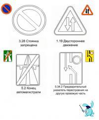 Стоянка запрещена, двухстороннее движение, конец автомагистрали, предварительный указатель перестроения на другую проезжую часть Раскрашивать раскраски для мальчиков