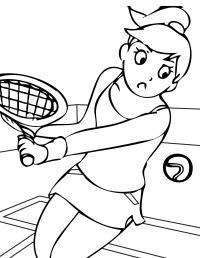 Спорт, девочка отбивает теннисный мяч Раскраски для мальчиков