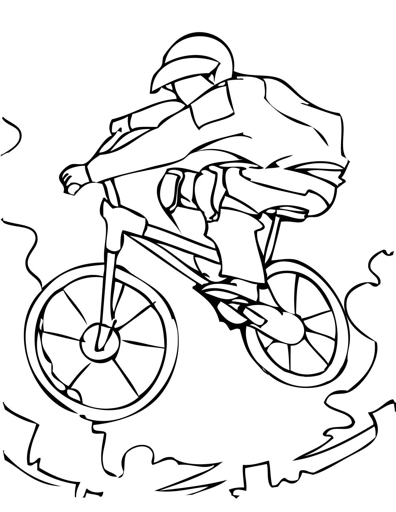 Спорт, велосипедист, горная тропа Раскраски для мальчиков бесплатно