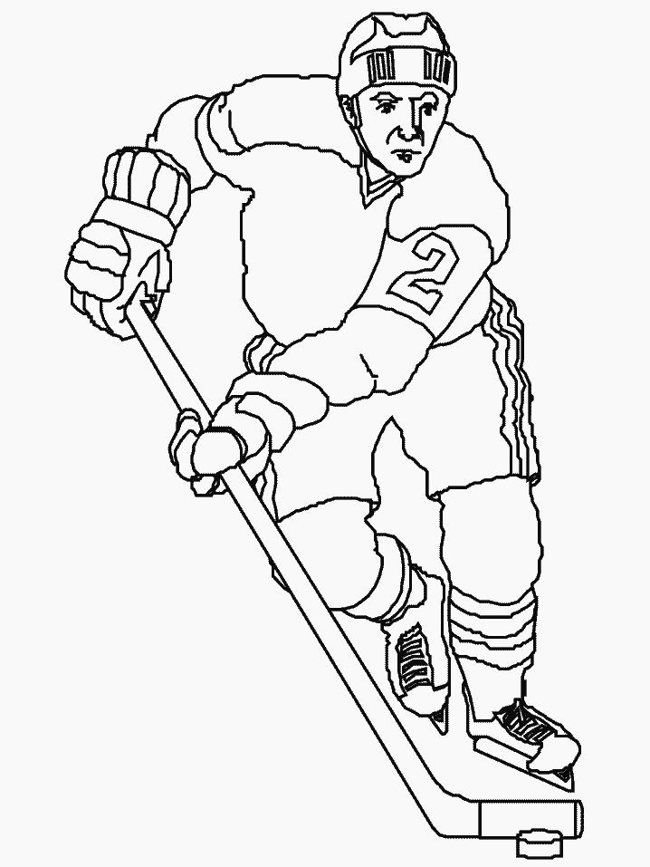 Спорт, хоккеист ведет шайбу, клюшка Раскраски для мальчиков бесплатно