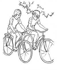 Спорт, езда на велосипеде, дети, улица, деревья Раскраски для мальчиков бесплатно