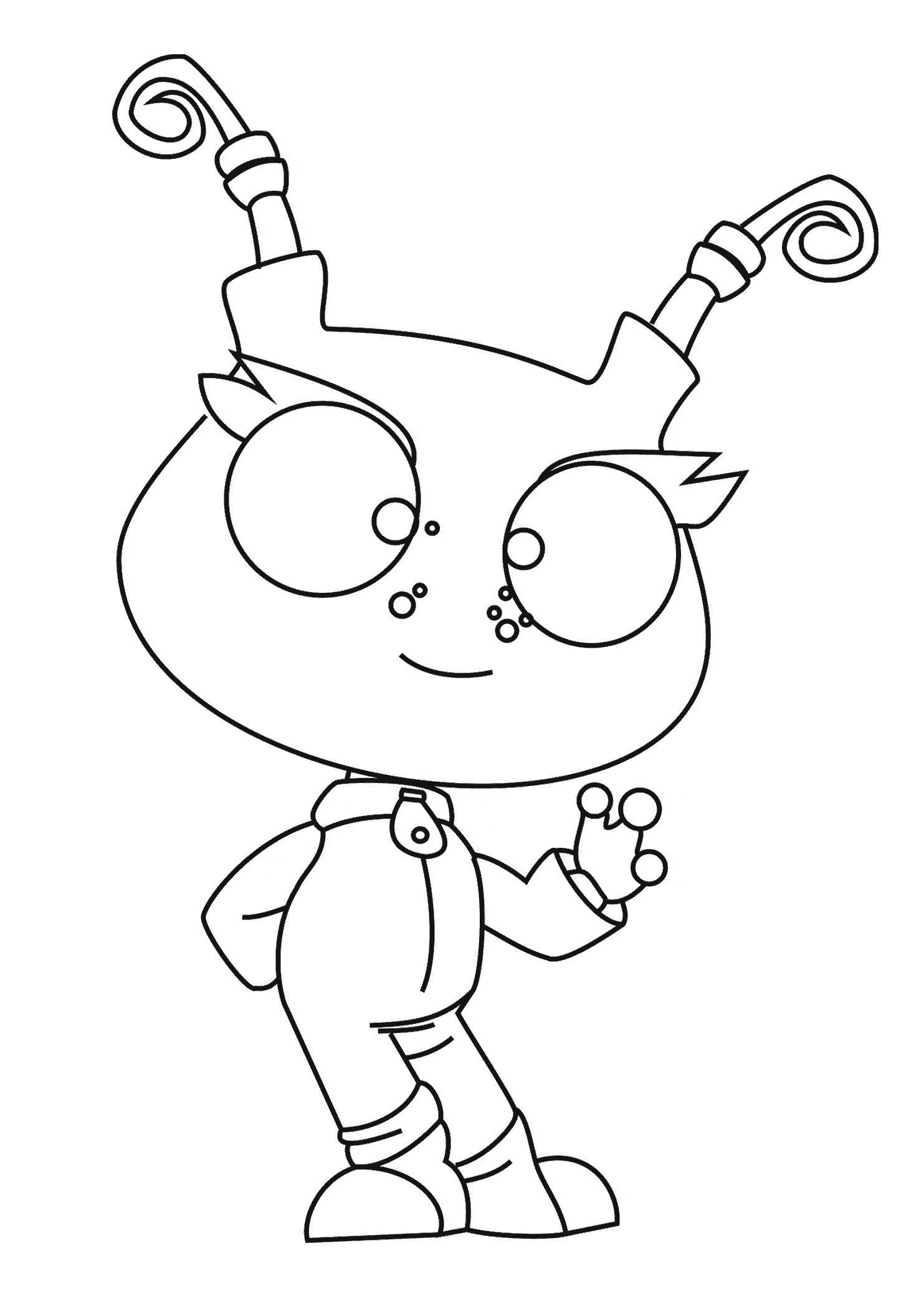 Инопланетяшка с усиками антеннками и трехпалой рукой Распечатать раскраски для мальчиков