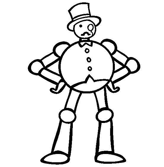 Робот с круглым телом в шляпе Раскраски для детей мальчиков