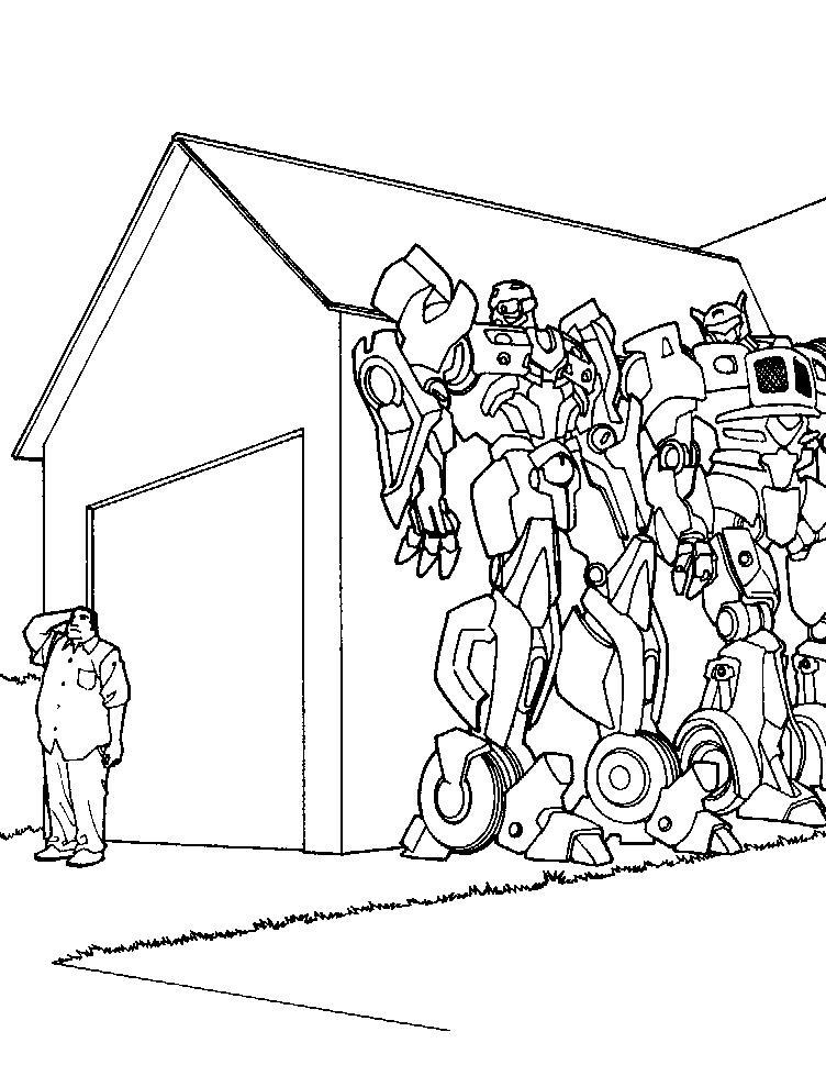 Трансформеры прячатся за домом, человек Раскраски для мальчиков