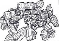 Трансформеры в сражении Раскраски для мальчиков