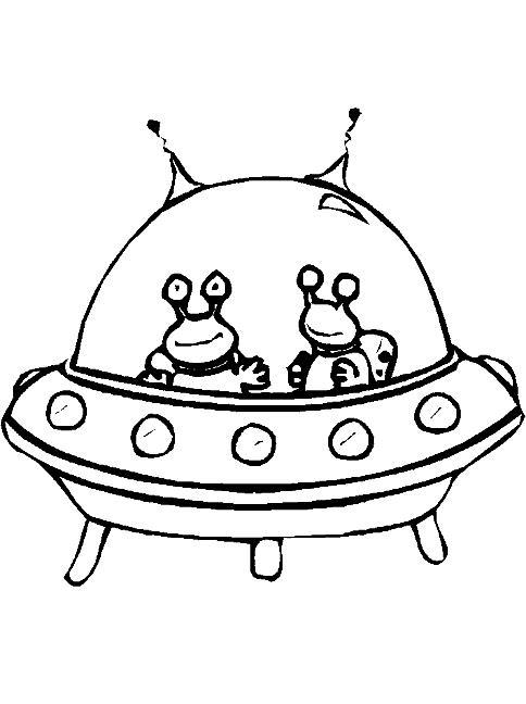 Нло, инопланетяне в летающей тарелке с антеннами Раскраски для мальчиков