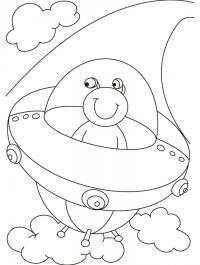Нло, инопланетянин летит в тарелке Раскраски для мальчиков