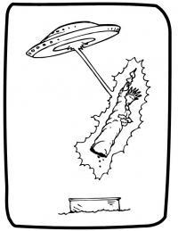 Летающая тарелка похищает статую свободы в нью-ёрке Раскраски для мальчиков