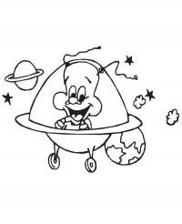 Веселый инопланетянин летит в летающей тарелке Раскраски для мальчиков