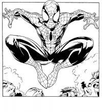 Человек паук проносится над головами людей Раскраски для мальчиков