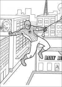 Человек паук летит над домами Раскраски для мальчиков