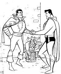 Супермен жмет руку человеку молнии, в мусорном баке сидит грабитель Раскраски для мальчиков