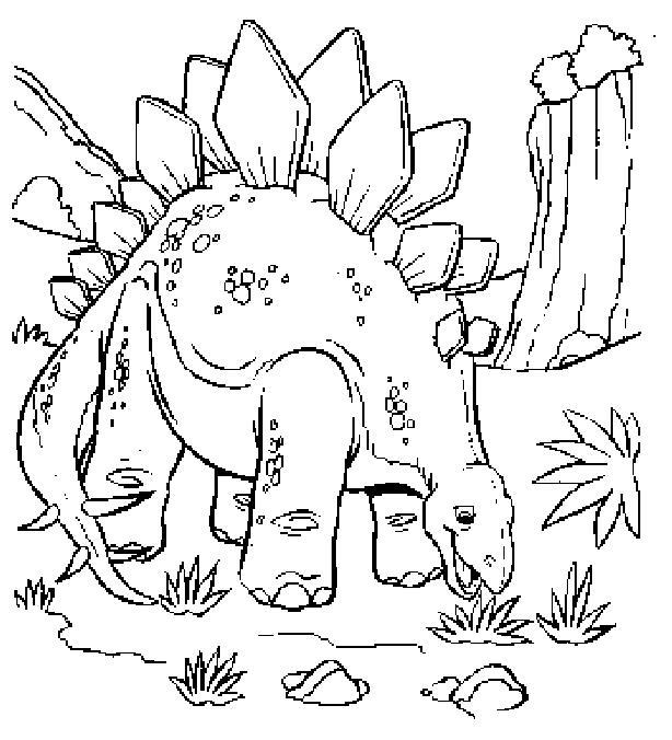 Динозавр ест траву Раскраски для мальчиков