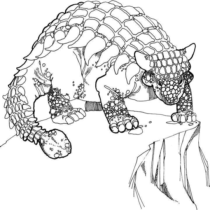 Анкилозавр стоит на скале Раскраски для мальчиков