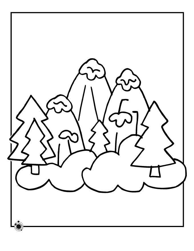 Горы и елки Раскраски для детей мальчиков