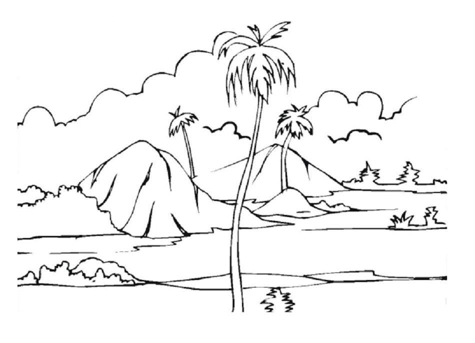 Горы и пальмы Раскраски для детей мальчиков