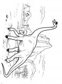 Динозавр идет по воде, горы, пальмы, скалы Раскраски для мальчиков