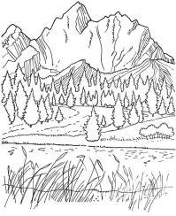 Горы, лес, национальный парк, озеро Раскраски для детей мальчиков