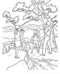 Горы, семейный отдых в горах, люди, дети, деревья Раскраски для детей мальчиков