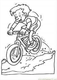 Мальчик на велосипеде в горах Раскраски для мальчиков бесплатно