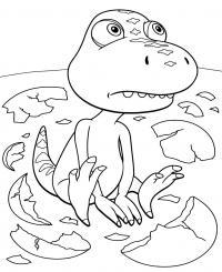 Поезд динозавров, бадди вылупился из яйца Раскраски для детей мальчиков