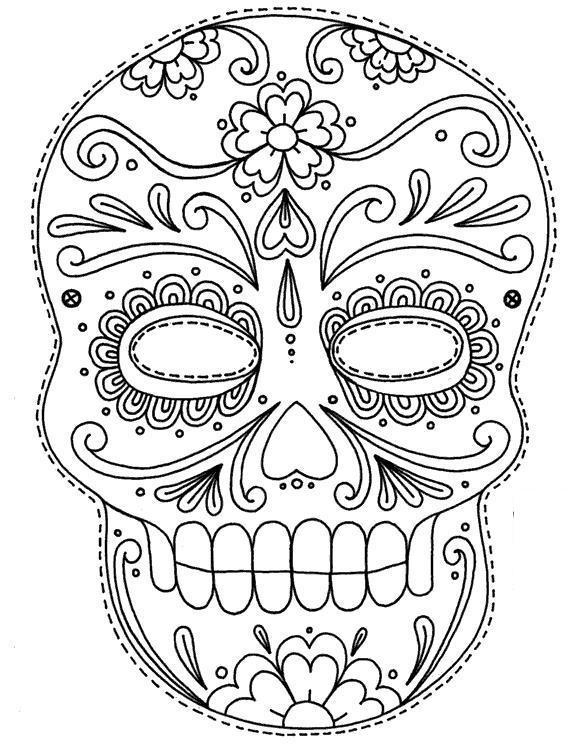 Разрисованный цветами череп человека Раскраски для мальчиков