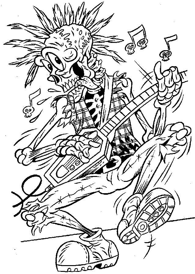 Скелет играет на электрогитаре Раскраски для мальчиков