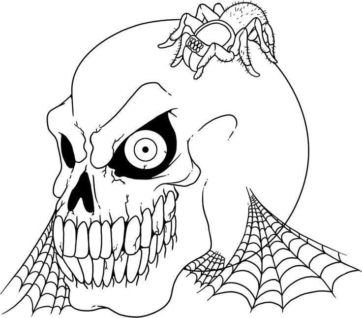 Паук на черепе и паутина Раскраски для мальчиков