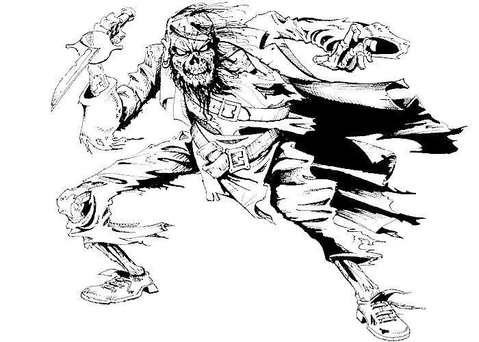 Скелет пирата с кинжалом Раскраски для мальчиков