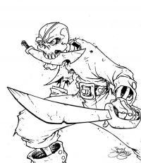 Скелет пирата с кинжалом в зубах и саблей Раскраски для мальчиков