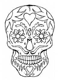 Скелет в цветах и сердечках Раскраски для мальчиков бесплатно