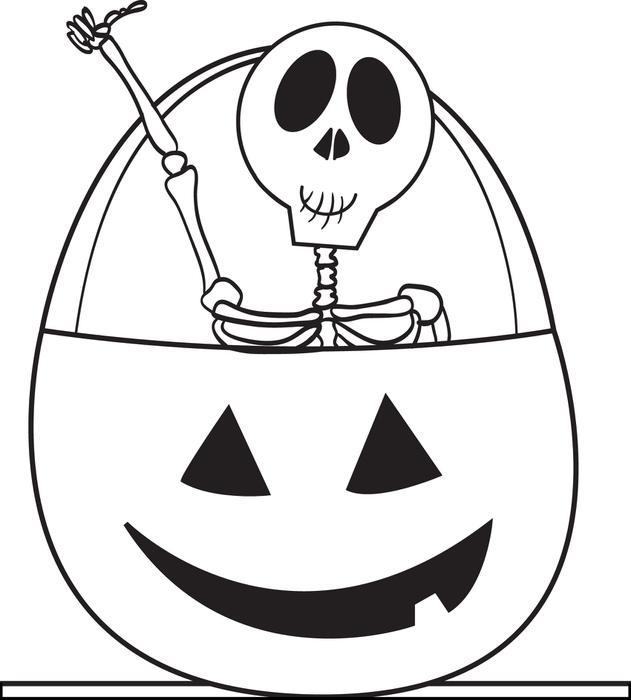 Скелет в тыкве Раскраски для мальчиков бесплатно