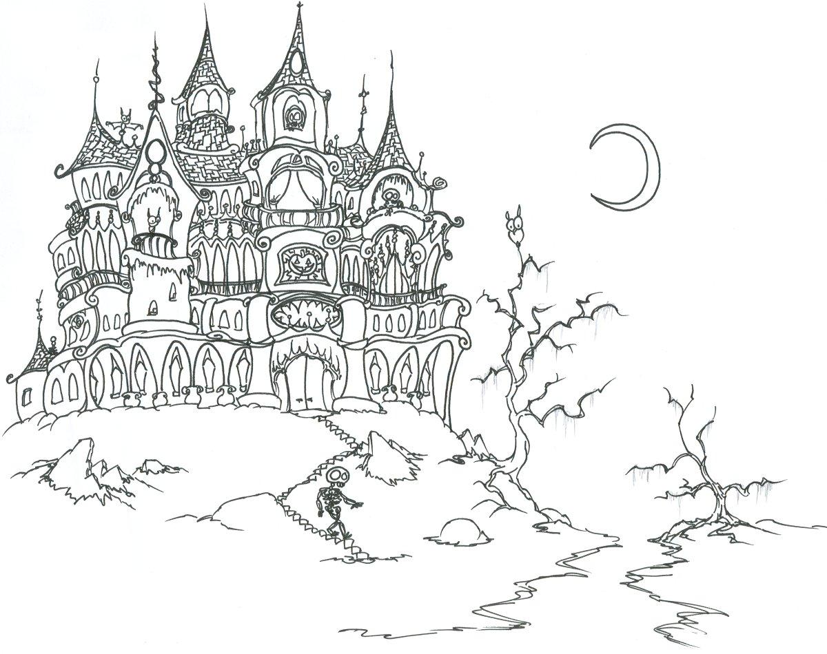 Скелет спускается вниз по лестнице, замок, ночь, луна, голые деревья, летучие мыши Раскраски для мальчиков
