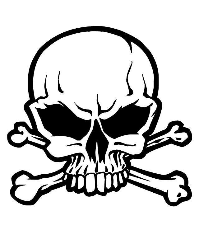 Череп с костями Скачать раскраски для мальчиков