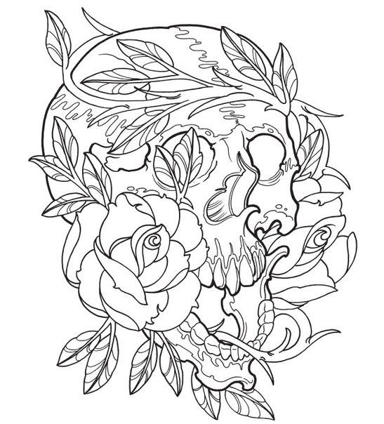 Череп и розы Скачать раскраски для мальчиков