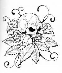 Череп с клыками на розах Скачать раскраски для мальчиков